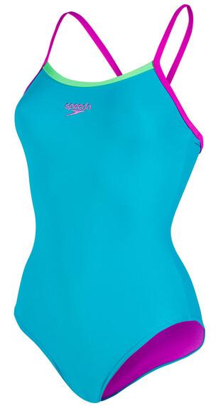 speedo Endurance10 Thirnstrap Muscleback Swimsuit Women aquarium/diva/fluo green